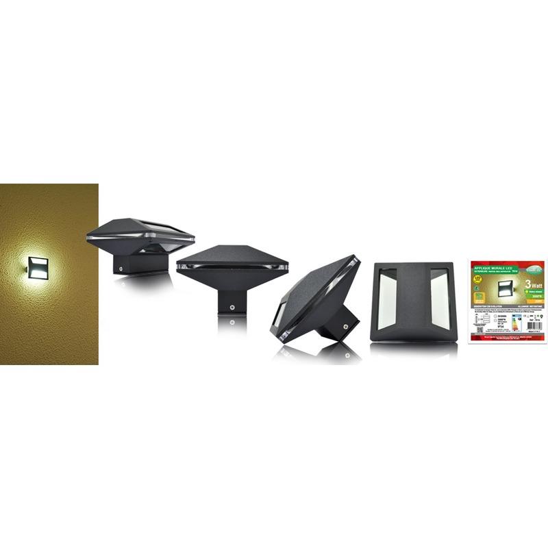 APPLIQUE MURALE CARRE EXTERIEURE LED IP54  3W