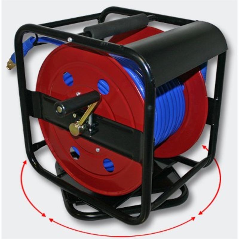 Enrouleur de tuyau pneumatique portable en acier 30 m 12 bar
