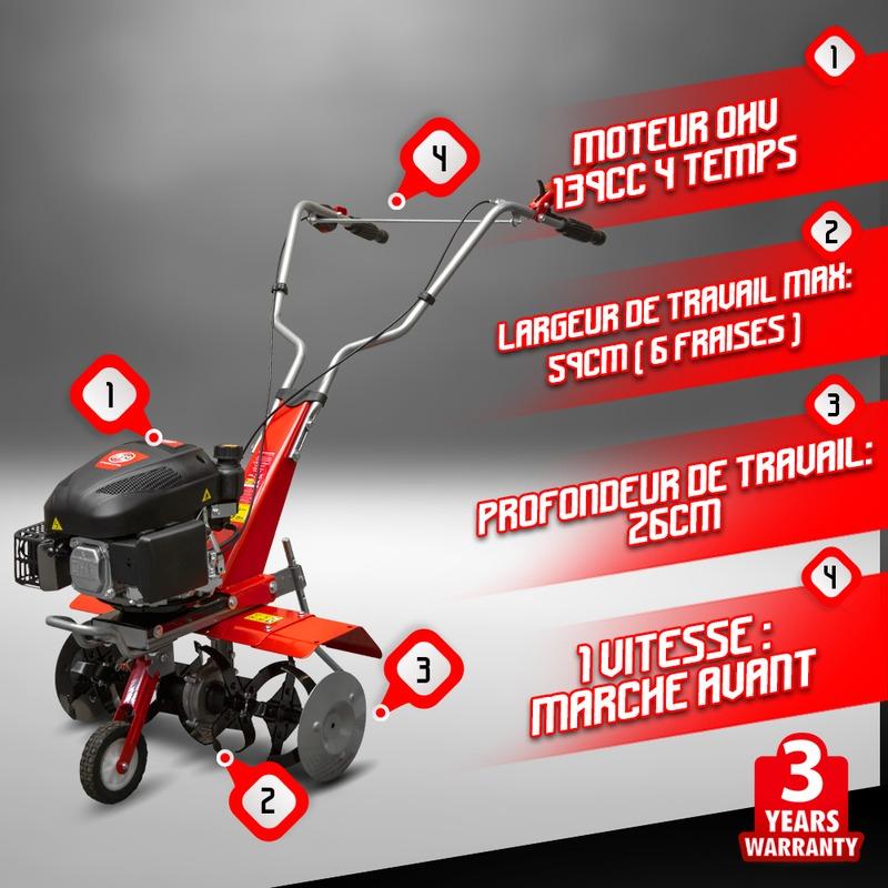 Motobineuse thermique 139CC avec  6 fraises