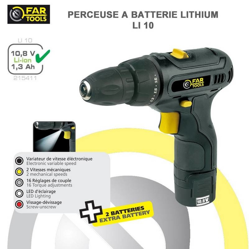 Perceuse visseuse 2 batteries 10.8 volts li-ion