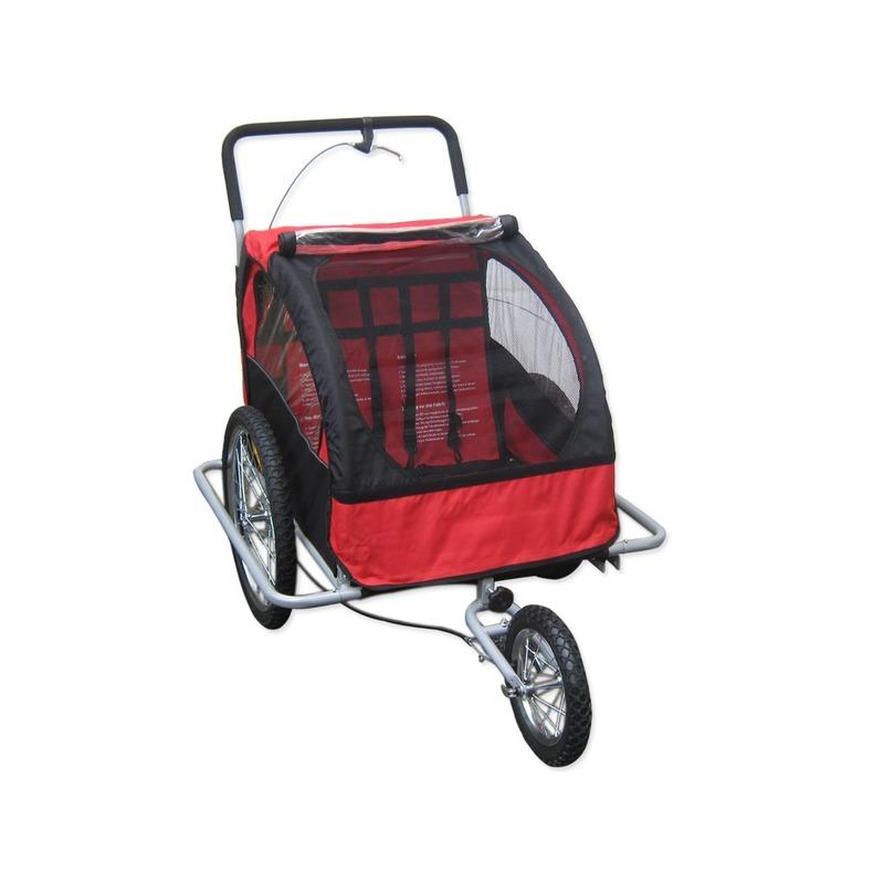 Remorque vélo onvertible poussette + jogger 2 enfants