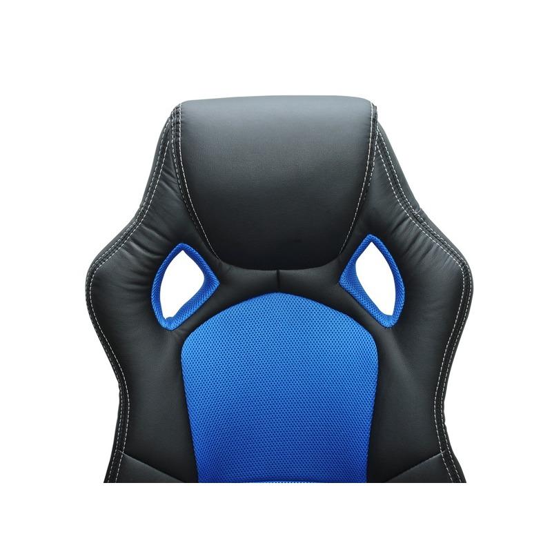 Siège baquet de bureau bleu et noir tissu cuir