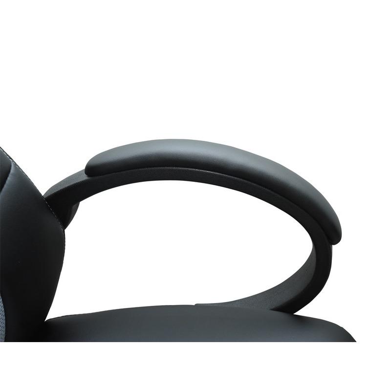 Siège baquet de bureau gris et noir tissu cuir