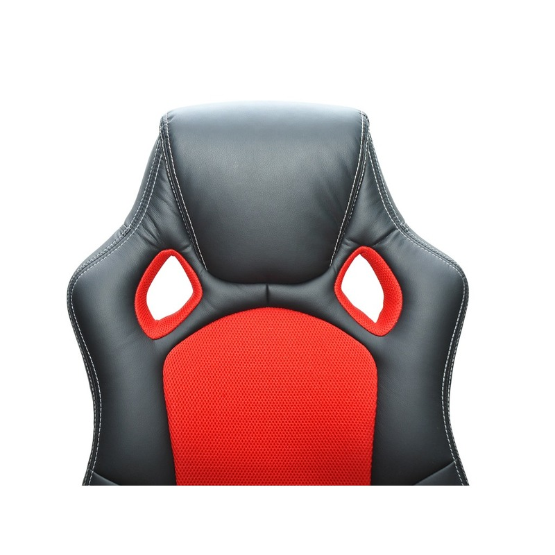 Siège baquet de bureau rouge et noir tissu cuir