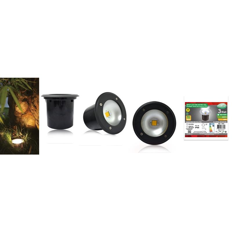 SPOT ROND ENCASTRE SOL LED IP65 3W