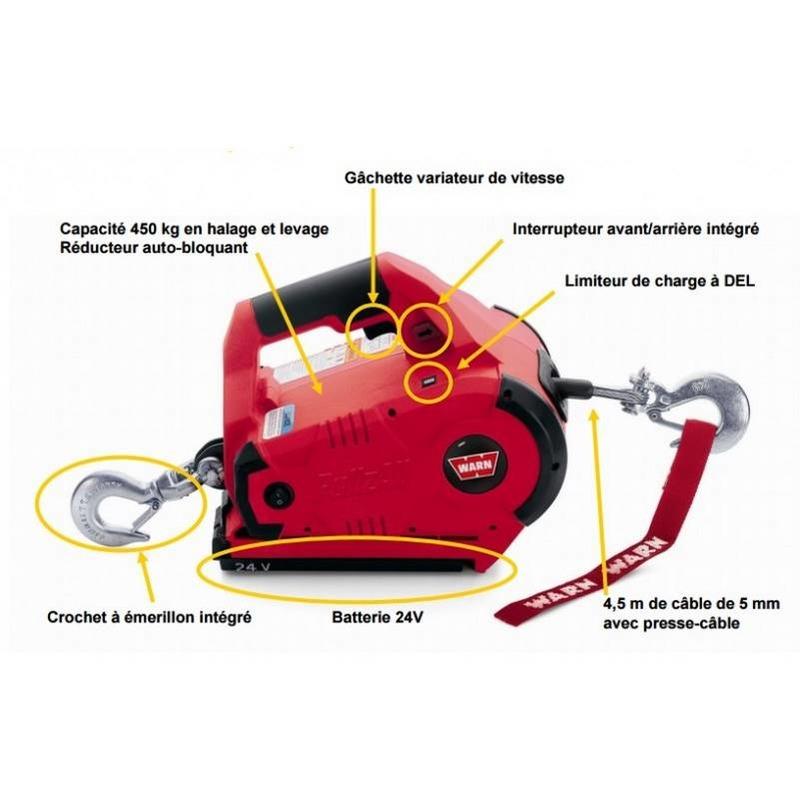 Treuil électrique 24 V 450 kg  sans fil