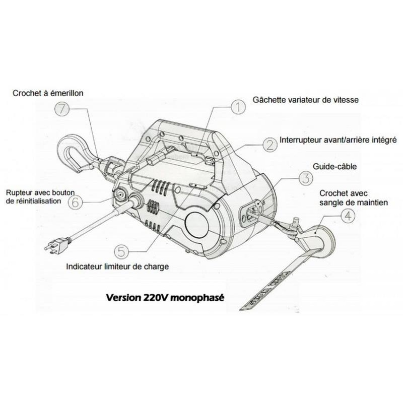 Treuil électrique  PULLZALL 220 V 450 kg