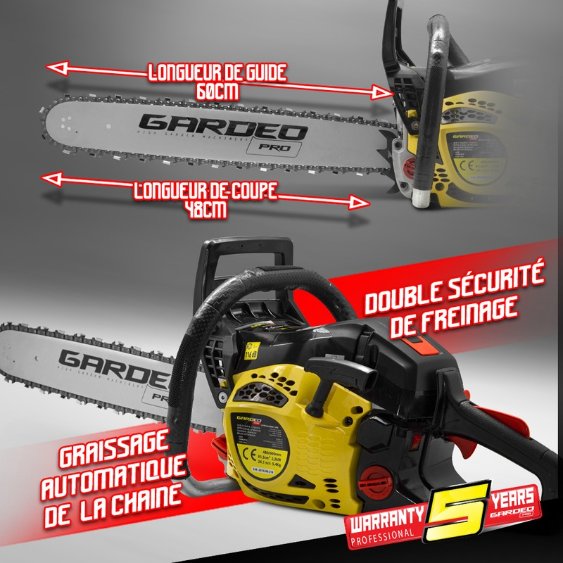 Tronçonneuse thermique 61.5CC  Guide 60cm