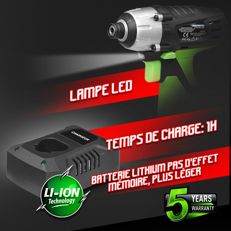 Visseuse à chocs sans fil 10.8V 1.3Ah Lithium